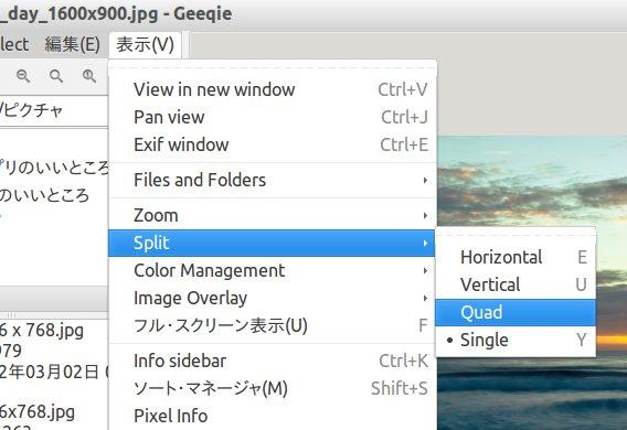 Geeqie Image Viewer Ubuntu 画像ビューア 画面分割